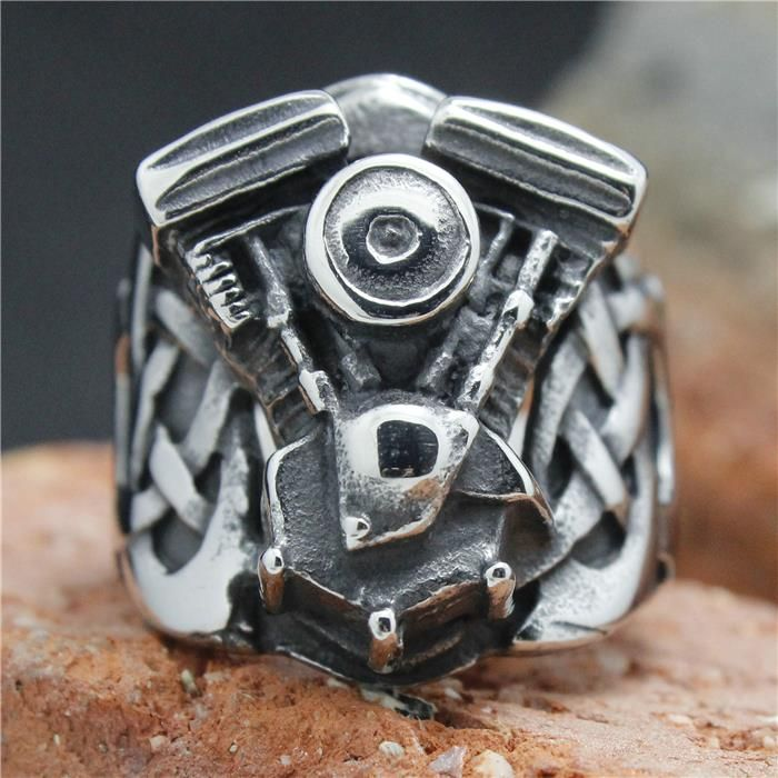 2015 Cool 316L Stainless Steel Silver Biker Engine Ring Mens Motorcycle Biker Engine Ring
