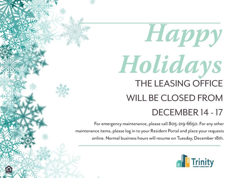 Please note that our office will be closed December 14-17