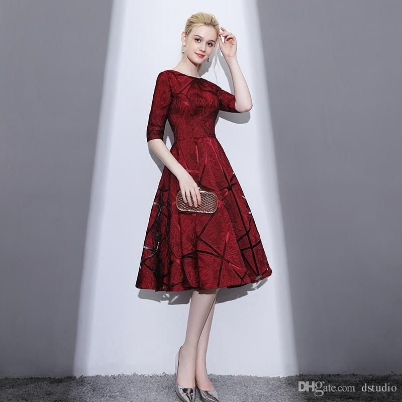 Elegant Mother Of The Bride Dresses Half Sleeves Zipper Back Tea Length Fall Wi Winter Wedding Guest Dress Fall Wedding Guest Dress Wedding Guest Outfit Winter