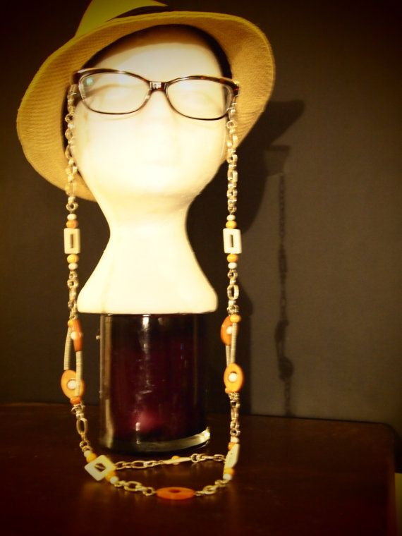 Orange and Gold beaded Eyeglass Chain by TheFACEspace on Etsy, $10.00
