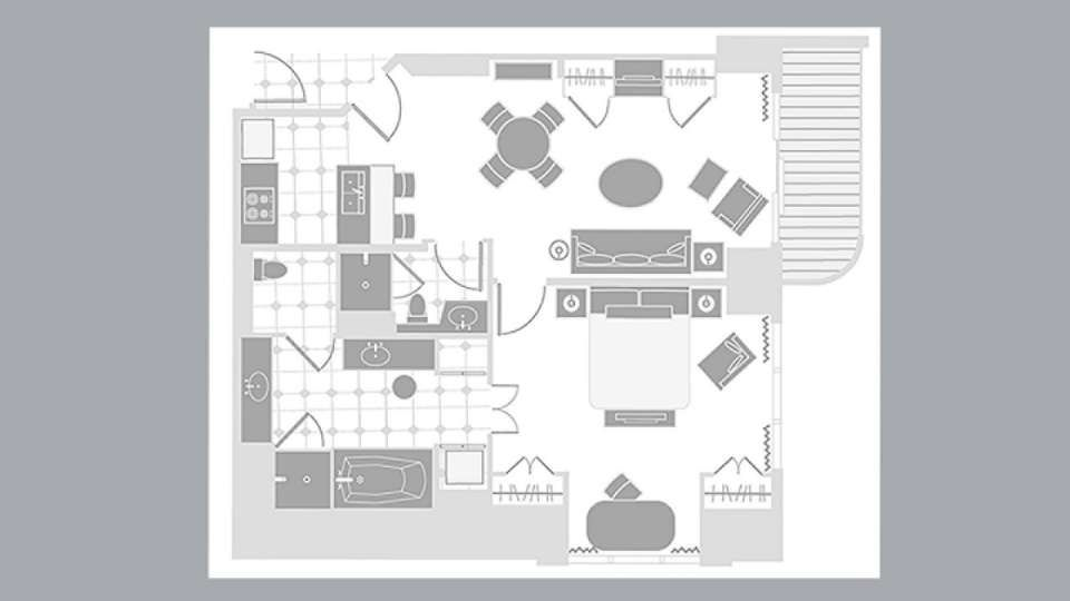 Mgm Signature One Bedroom Balcony Suite Floorplan Mgm Signature One Bedroom Bedroom Balcony