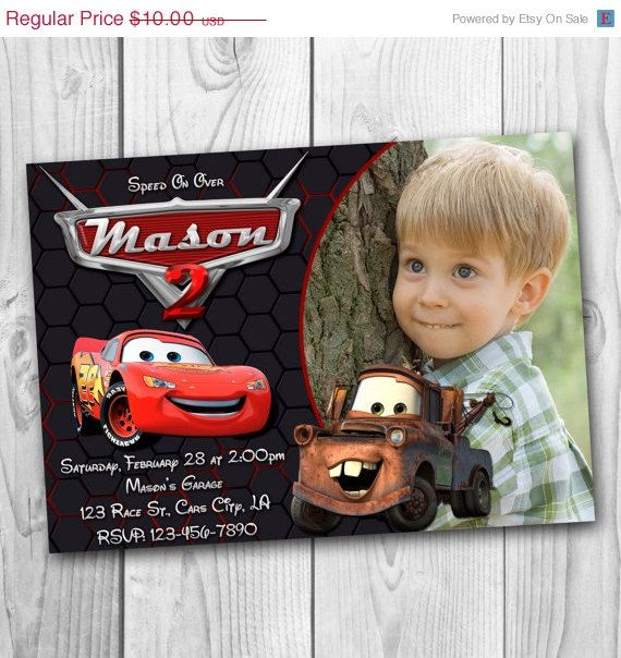 Lightning Mcqueen Personalized Invitation Racecar Cars Disney