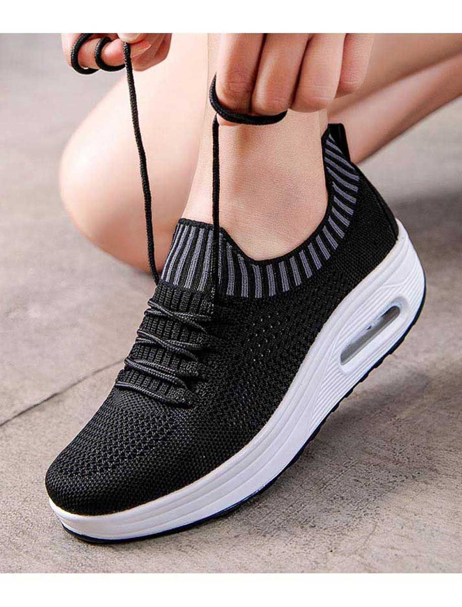 Black flyknit textured rocker bottom shoe sneaker  Womens flyknit lace up bottom sole shoe sneakers textured design lightweight