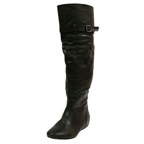 AwesomeNice Tall Black Simple Over The Knee High Flat Boots