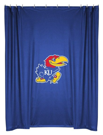Kansas Jayhawks NCAA Sports Coverage Team Color Shower Curtain  #SportsCoverage #LockerRoom