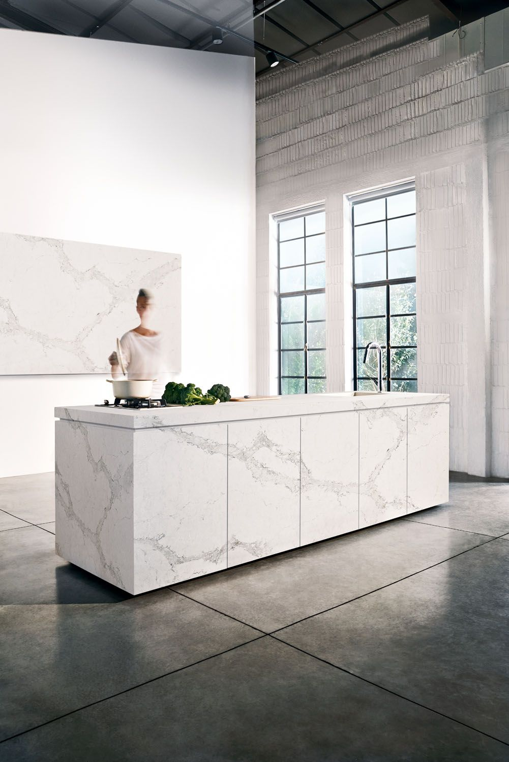 Kitchen With White Cabinets And Quartz Counter Tops Caesarstone Calacatta Nuvo | White Kitchens By Caesarstone