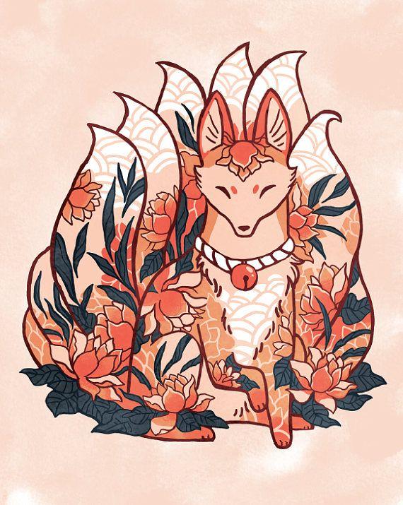 Nine Tails Fox Kitsune Spirit Print 8 By 10 8 5 By 11 Art Print Illustration Watercolor Flower Art In 2020 Fox Art Kitsune Fox Kitsune