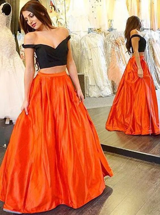 Black And Orange Prom Dresses Two Pieces Floor Length Sweetheart