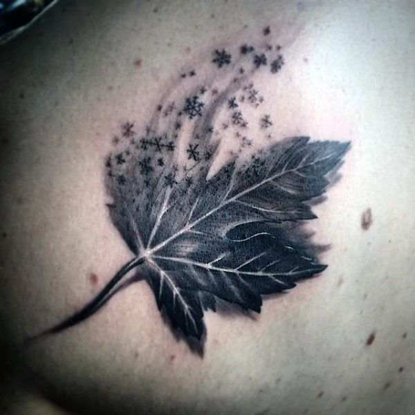 leaf with snowflakes guys back tattoo tattoo ideas pinterest leaves tattoo and guy. Black Bedroom Furniture Sets. Home Design Ideas