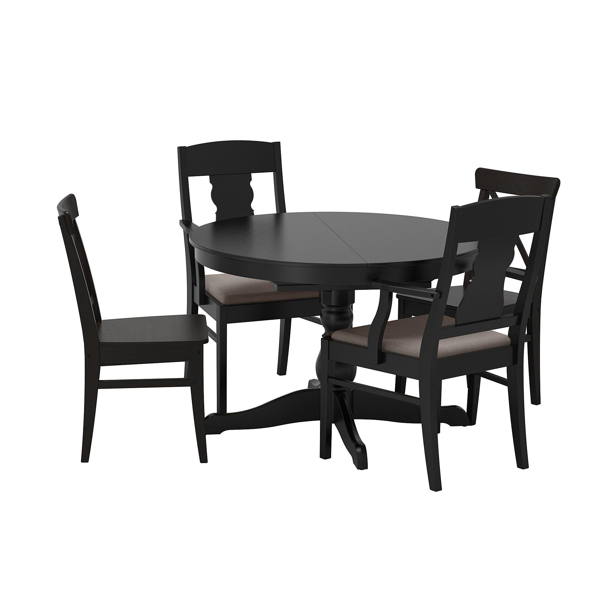 Ingatorp Ingolf Tisch Und 4 Stuhle Schwarz Nolhaga Grau Beige