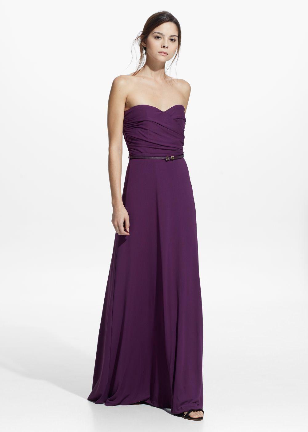 Vestido largo drapeado - Mujer | Drapeado, Vestido largo y Vestiditos