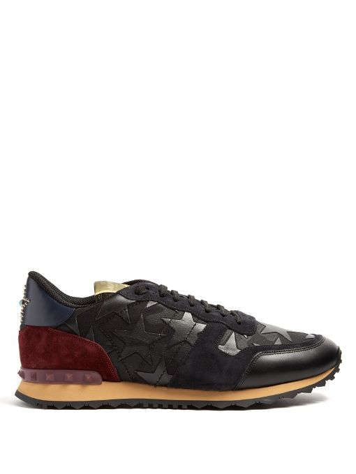 Valentino Black, and green rockrunner leather sneakers