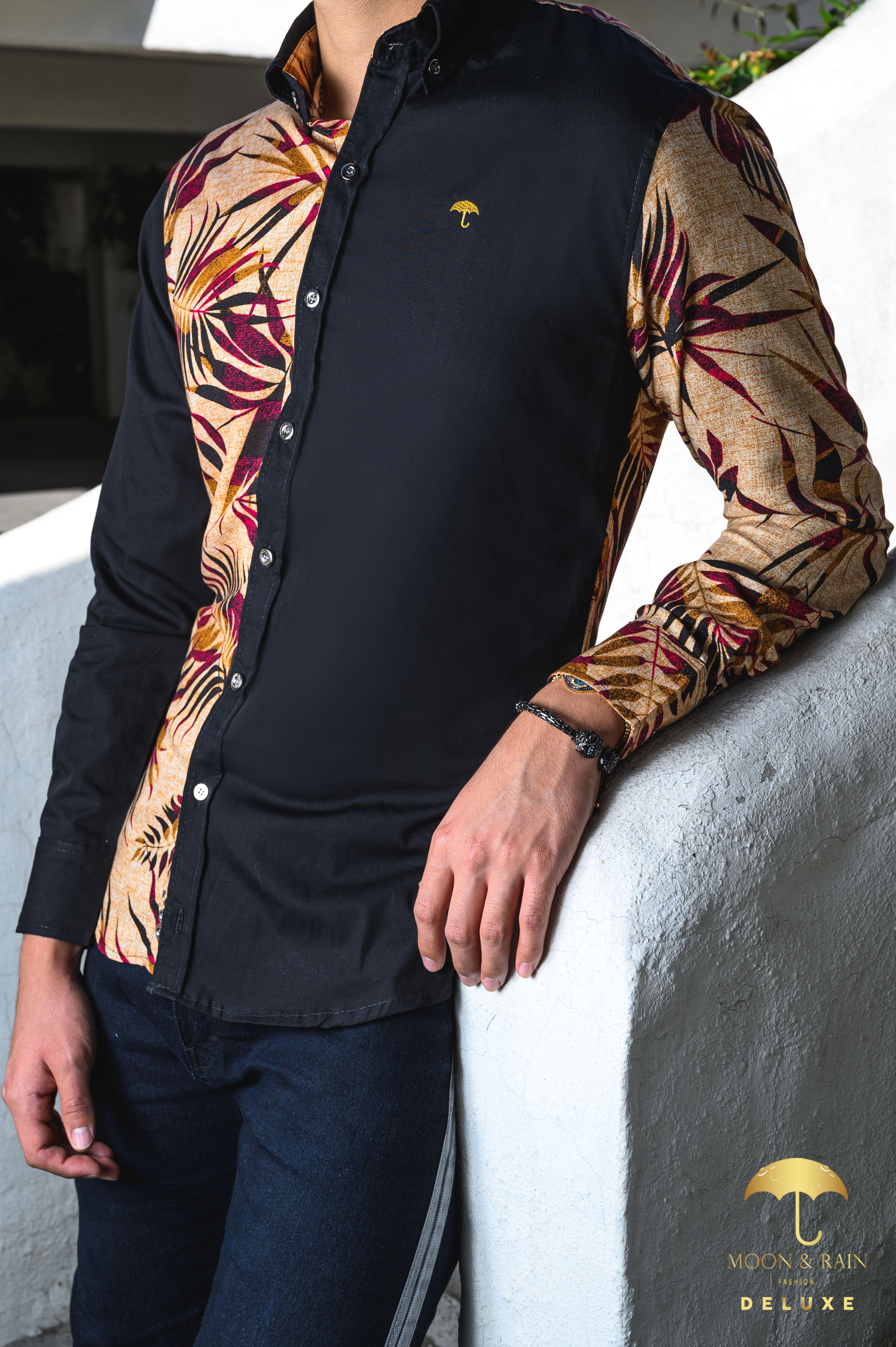 Camisa Negra con Hojas Vino en 2020 Moda hombre, Jeans