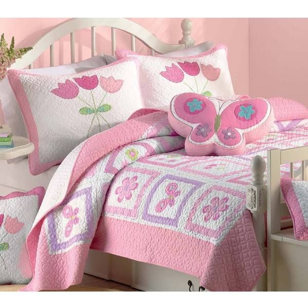 Butterfly Flower 2 Piece Twin Size Quilt Set Overstock Shopping