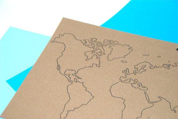 Carte Du Monde Mappemonde Encre De Chine Format A4 Affiche A