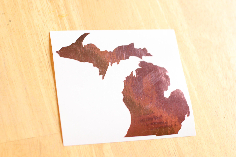 Rose Gold Michigan Vinyl Car Decal Large Vinyl Decal For Etsy Michigan Decal Michigan Sticker Vinyl Decals [ jpg ]