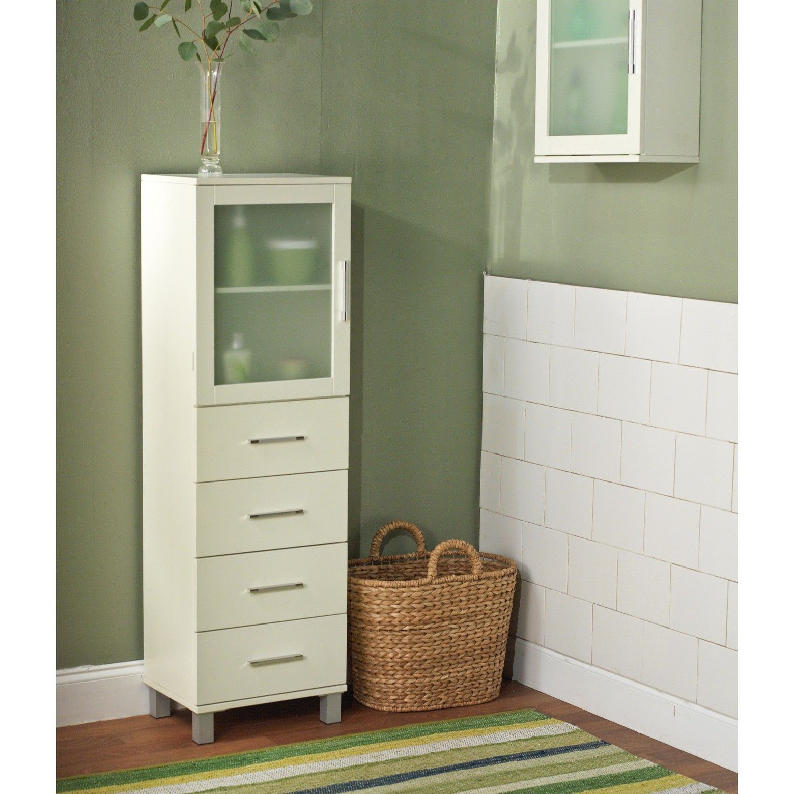Frosted Pane 4 Drawer Linen Cabinet White - Tms