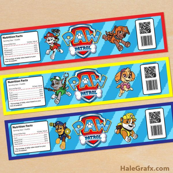 Free Printable Paw Patrol Water Bottle Labels  Birthday Ideas
