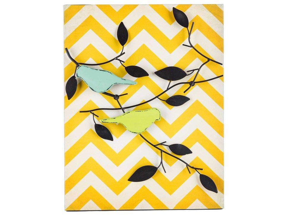 Yellow Chevron Metal Bird & Branch Wall Decor | Laundry Room Ideas ...
