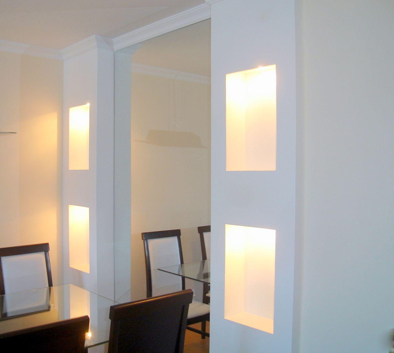 Coluna Com Gesso Iluminado Ap Gesso Pinterest Gesso Colunas E  -> Acabamento Gesso Sala