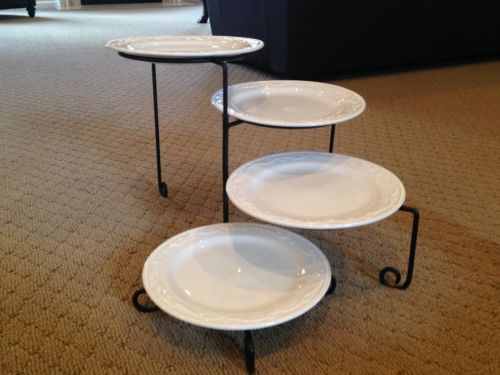 Mesa International Four Tier Plate And Black Wrought Iron Style Serving Stand Ebay Wrought Iron Style Serving Stand Wrought Iron