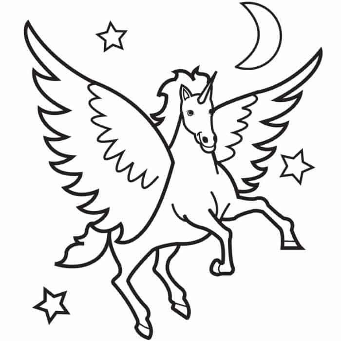ausmalbilder einhorn mit flügel  horse coloring pages