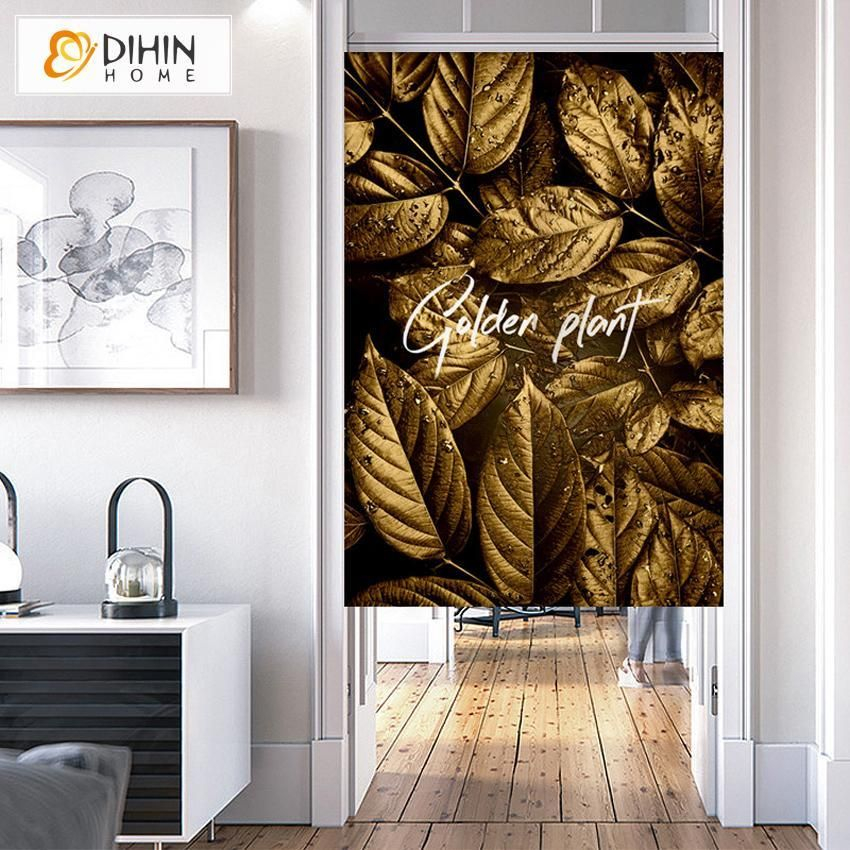 Dihin Home Golden Plant Printed Japanese Noren Doorway Curtain