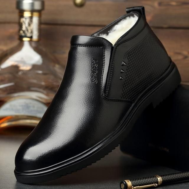 9b427840cff Handmade Men Genuine Leather Winter Boots Warm Snow Men Boots Ankle Boots  For Men Business Dress