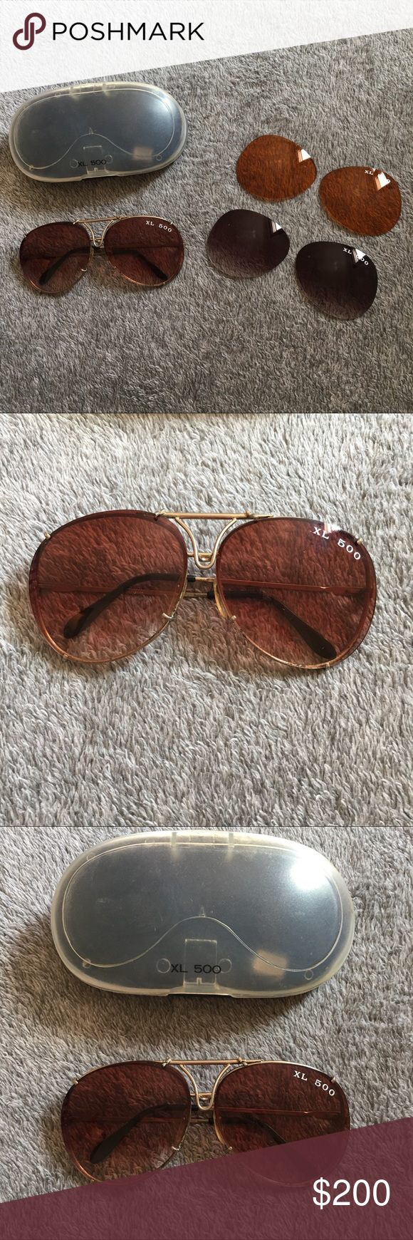 92a7fbf6d0bce Vintage Ray Ban XL 500 Sunglasses 1980 s Ray Ban Sunglasses • 3 Sets of  Interchangeable Lenses • Unisex Ray-Ban Accessories Sunglasses
