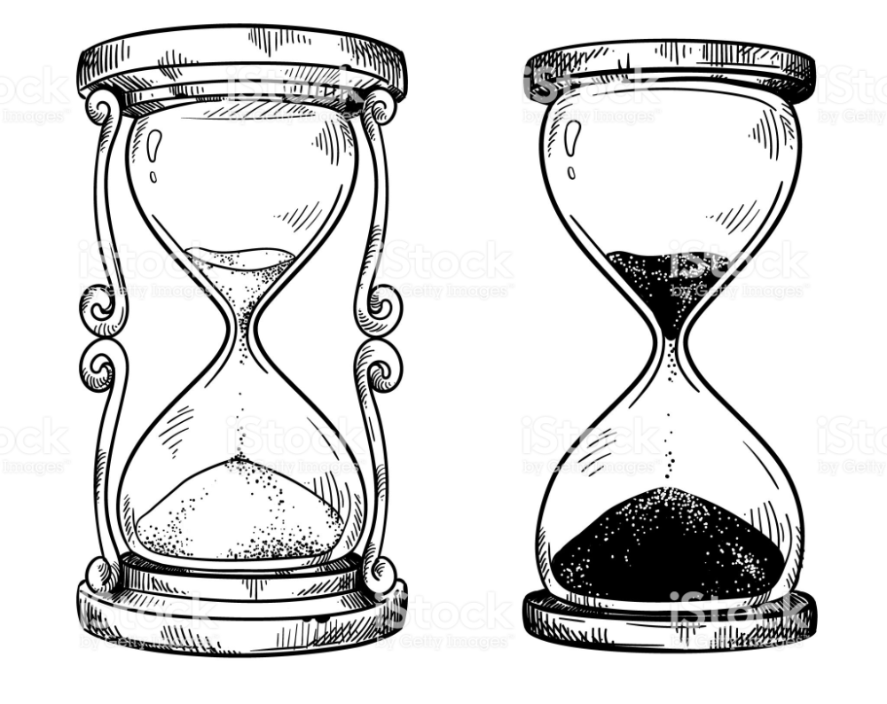 Set Of 2 Vintage Sand Hourglasses Vector Drawing Hourglass Drawing Clock Drawings Sand Clock