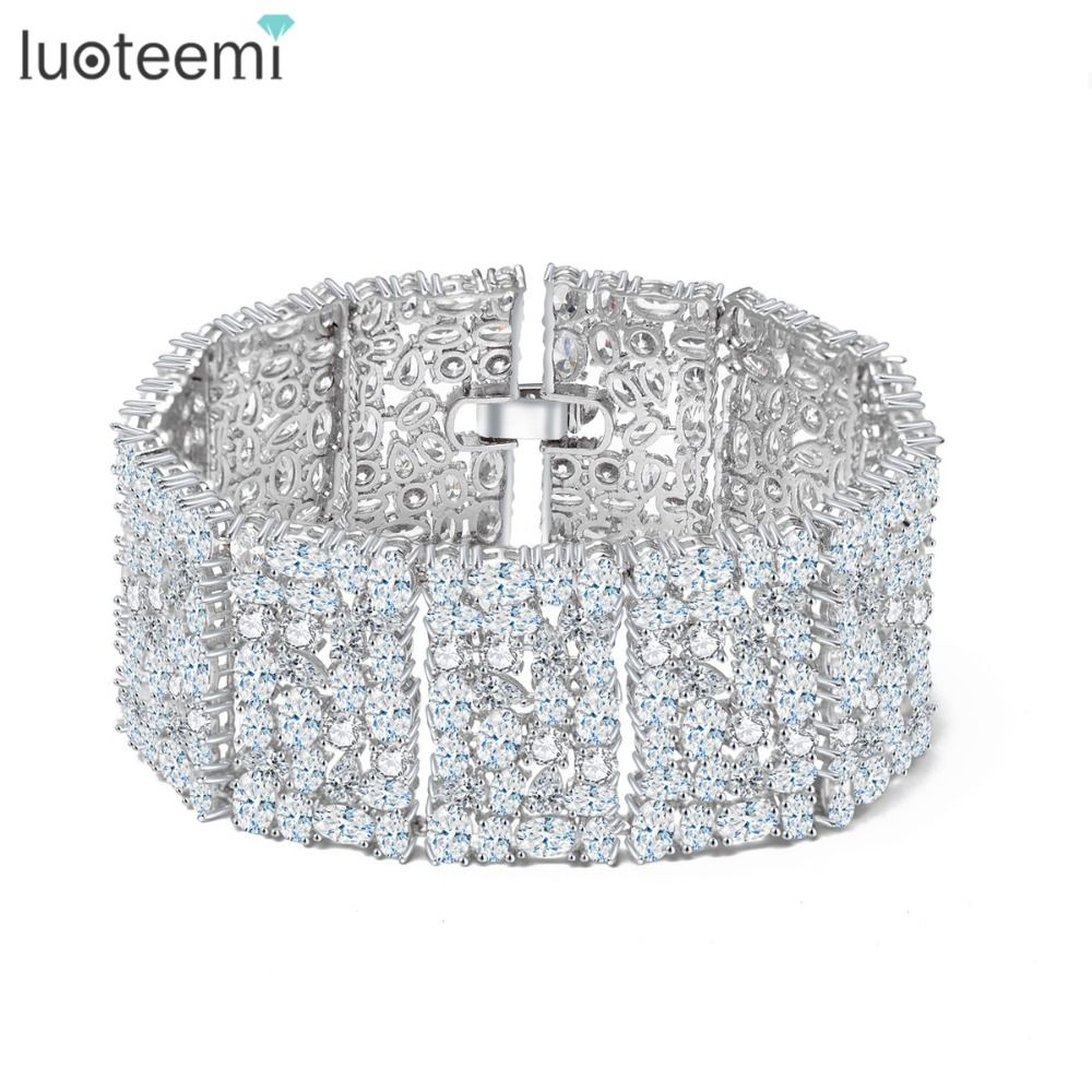 Luoteemi new big luxurious jewelry full shining cubic zircon white