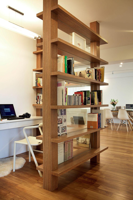Open Study Room: Wooden Display Rack For Study