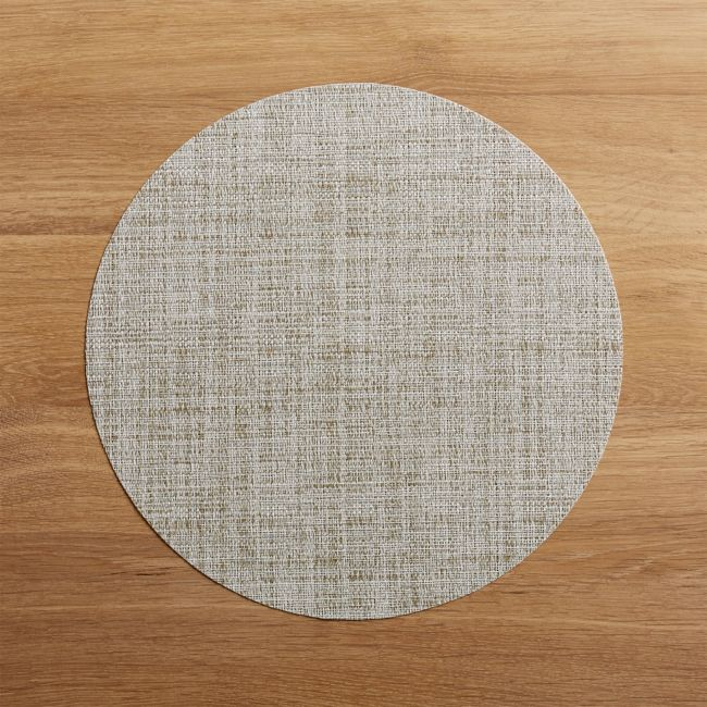 Chilewich Round Crepe Neutral Vinyl Placemat + Reviews | Crate and Barrel