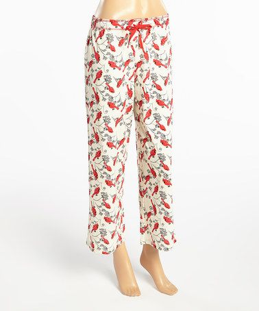 Love this White & Red Cardinal Pajama Pants on #zulily