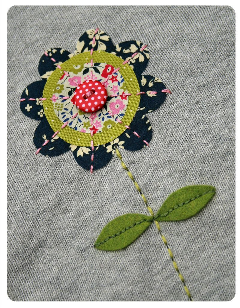 Fancy Flowered Cardigan Machine Embroidery Applique Applique Quilting Sewing Art