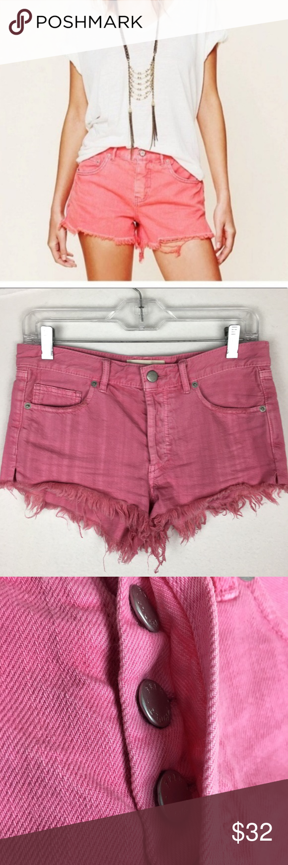 Free People Pink Denim Cutoff Shorts size 25 Free People ( We The Free)  Pink Denim Cutoff Shorts size 25 15.5 waist 9 rise 2 length * Stock photo demonstrates style.  Please see actual photos for exact  color shade  FF17-0451 Free People Shorts Jean Shorts #denimcutoffshorts