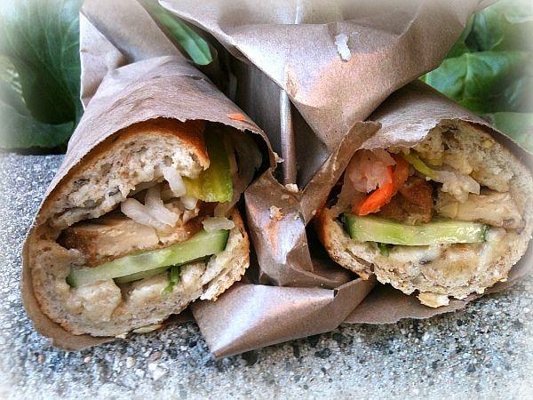 Vegetarian lemongrass tofu baguette sandwich at DD Mau in Yaletown, Vancouver   Flickr - Fotosharing!