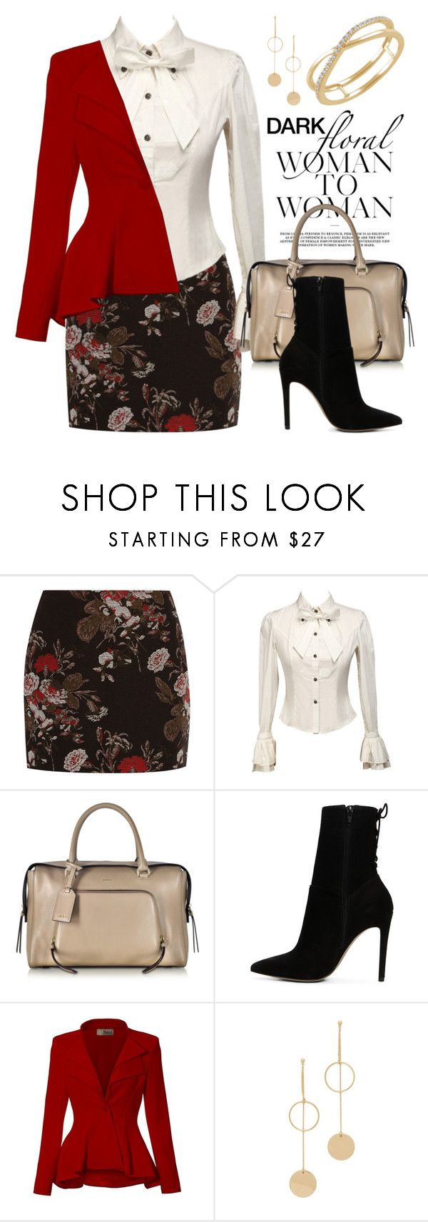 """""""In Bloom: Dark Florals 2918"""" by boxthoughts ❤ liked on Polyvore featuring Ganni, DKNY, ALDO, Hybrid & Company, Cloverpost and darkflorals"""