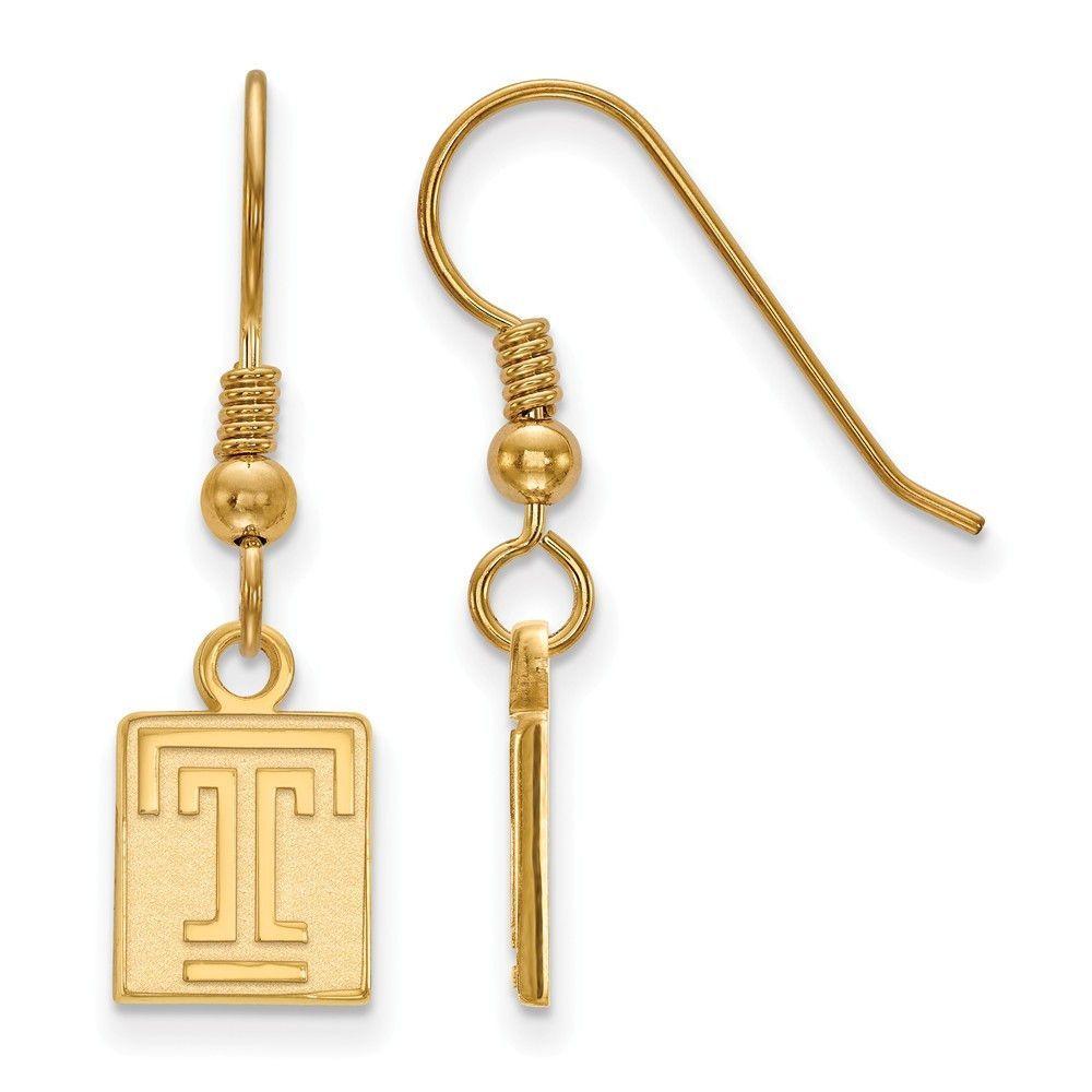 Sterling Silver w/GP LogoArt Temple University XS Dangle Earrings