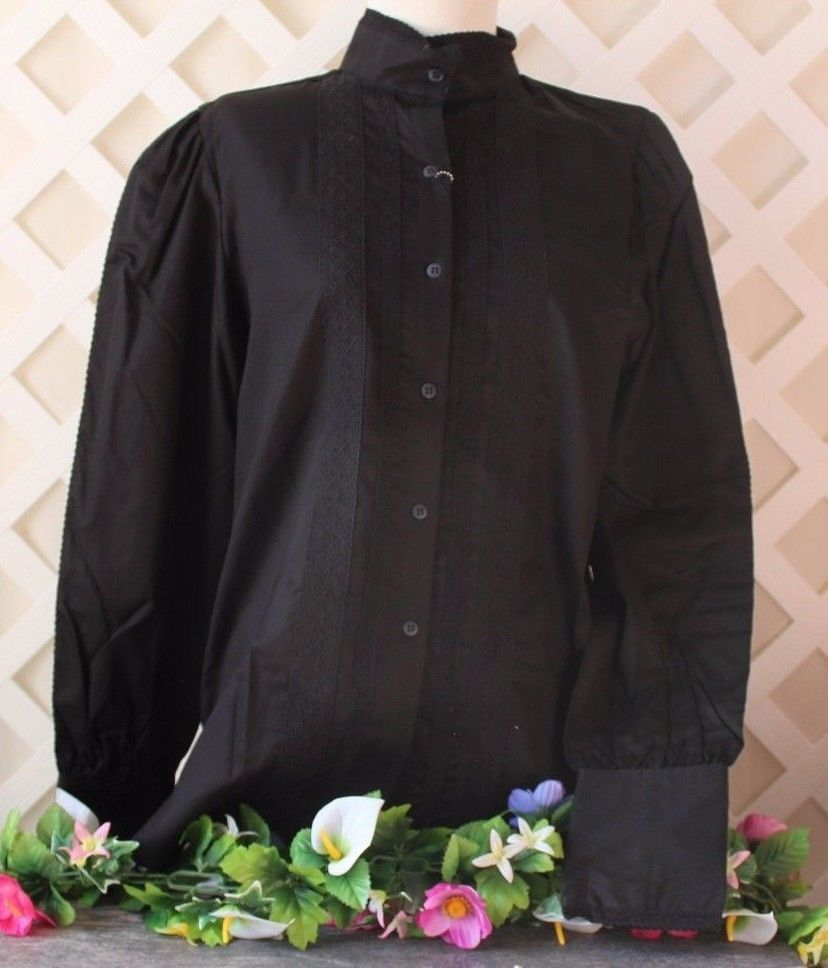 Civil War style ladies blouse Black cotton blend with ruffles in the front and around the neck