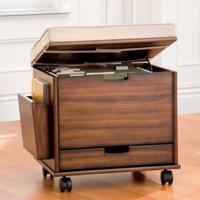 Mobile File Cabinet Seat With Cushion Storage For Small Spaces
