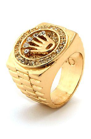 ce7deb534688e Men's Gold Crown CZ Hip Hop Ring | Accessories | Gold chains for men ...