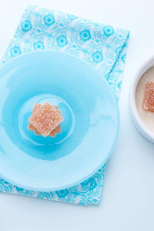 pate de fruit on blue plate