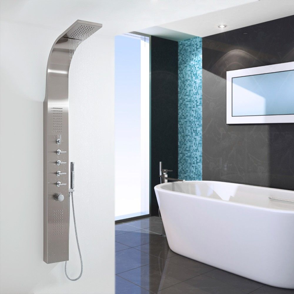 thermostatic shower panel with waterfall head stainless steel thermostatic shower panel with waterfall head stainless steel shower panels bathrooms