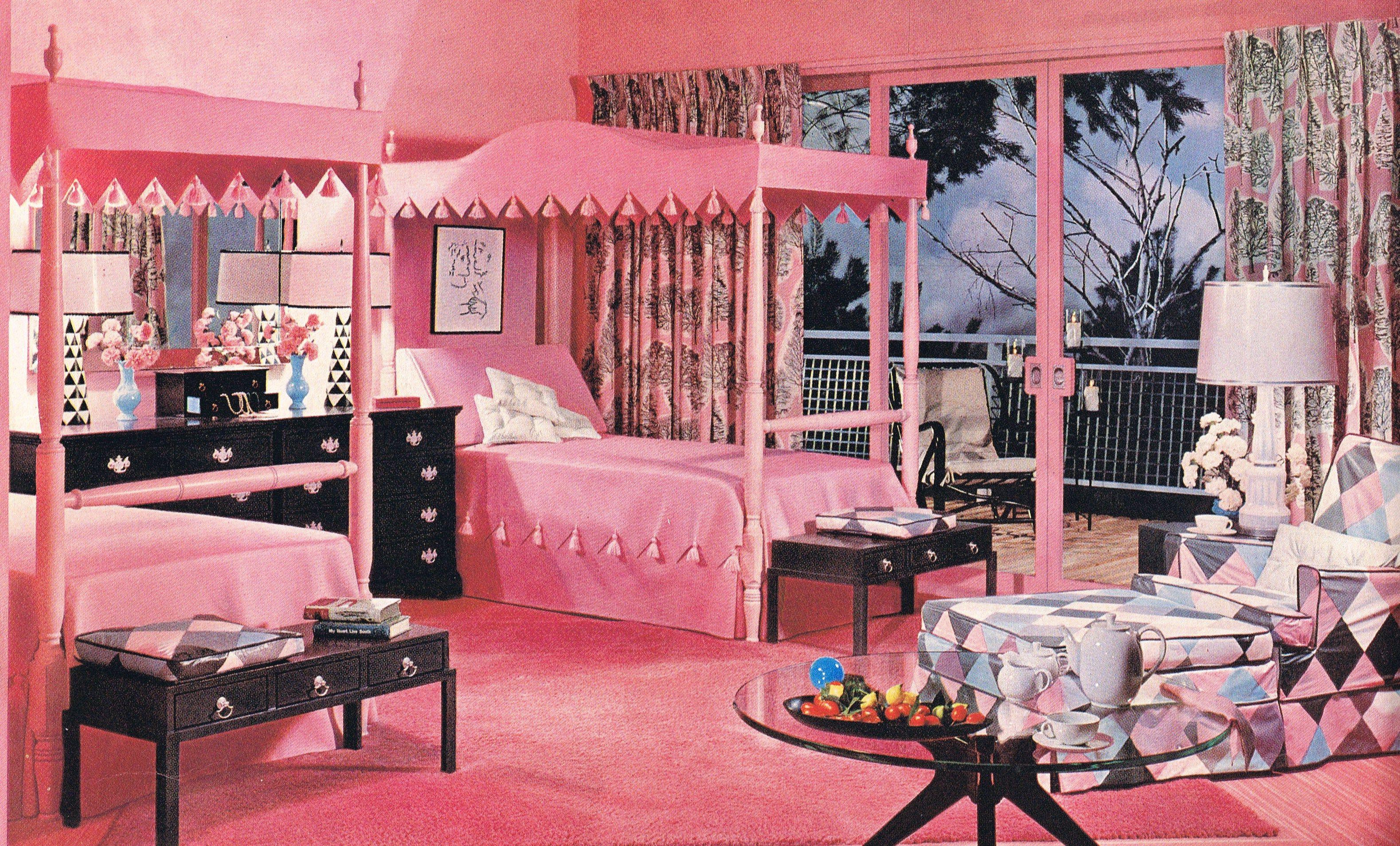 Mid Century Modern • • vintage pink & black bedroom
