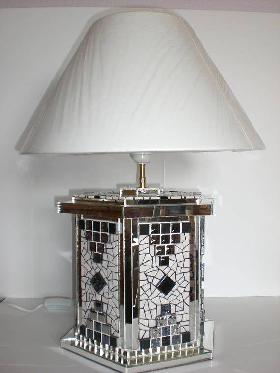 Lampe A Poser Facettes En Mosaique Emaux De Briare Mat Et Brillant Miroir Marbre Mosaique Metalisee Joint Blanc Et Noir Dim Pied 36c Home Decor Decor Lamp