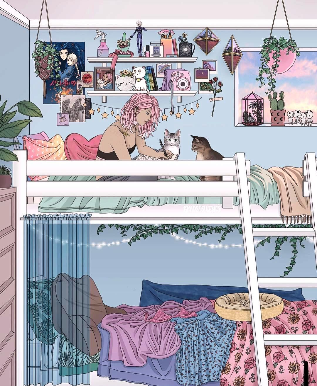 In her cozy place cute pastel color illustration pop