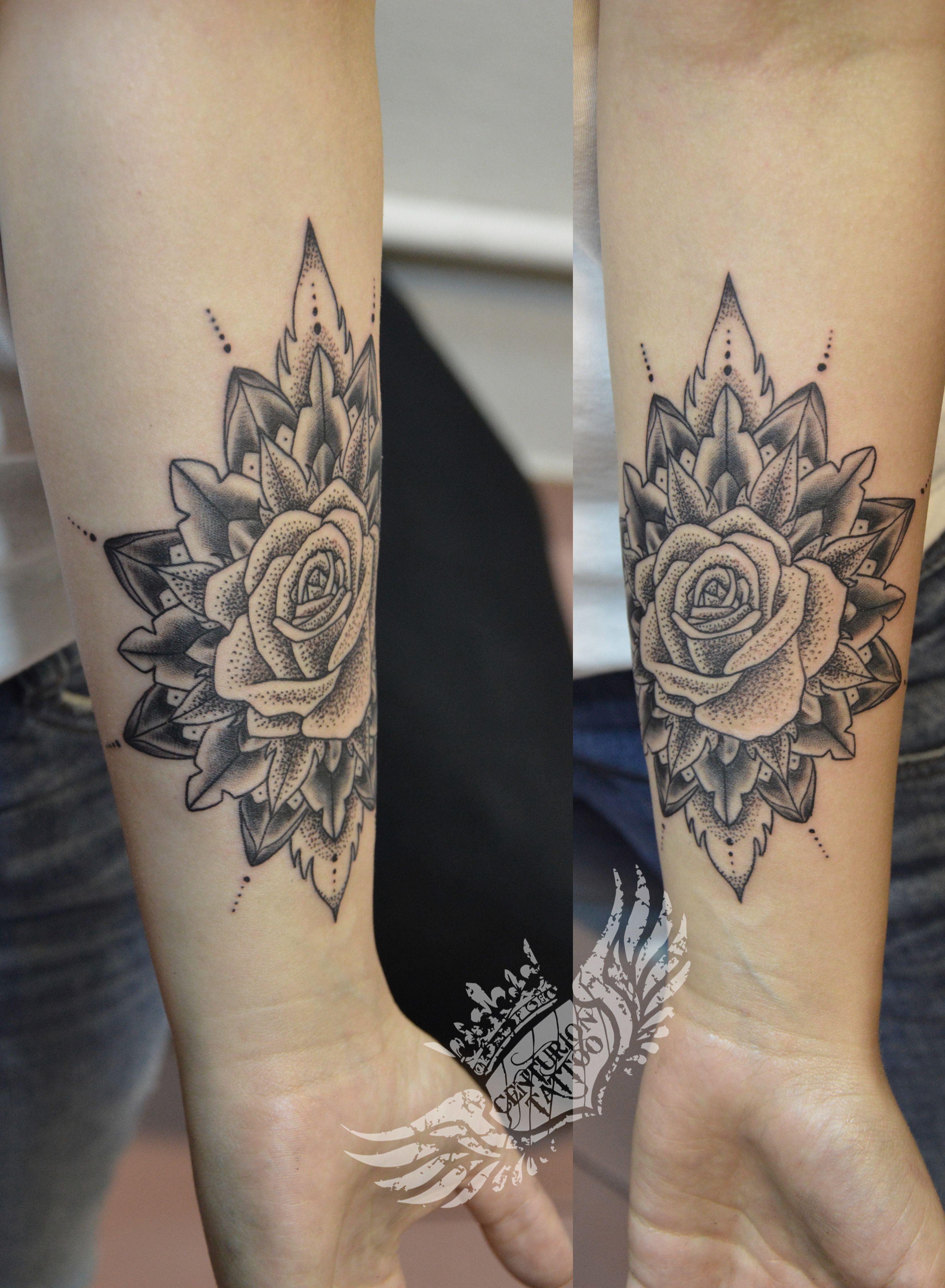 mandala dotwork rose tattoo tattoo centuriontattoo pinterest rose tattoos tattoo and tatting. Black Bedroom Furniture Sets. Home Design Ideas