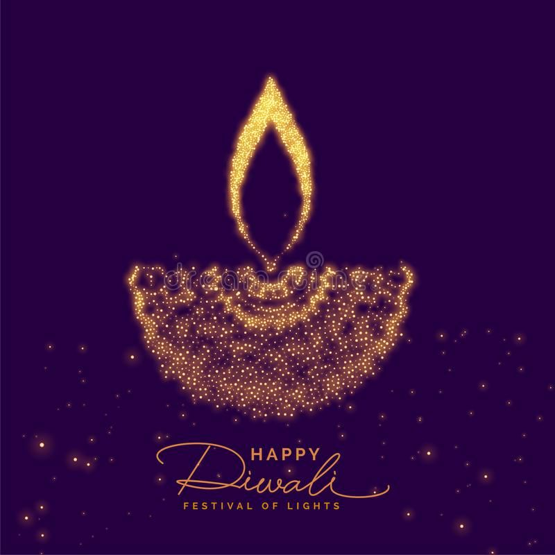 Creative Diwali Diya Made With Golden Particle Stock Vector - Illustration of culture, celebration: 125884863