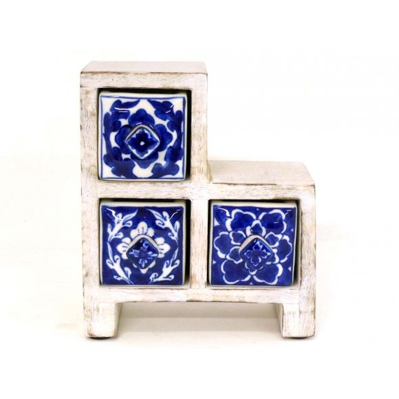 PORTUGUESE: Spanish blue, Andalusian-style ceramic drawer. Shop now at www.hardtofind.com.au